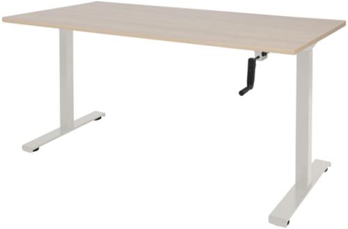 Bureau slinger verstelbaar (zit/sta) - 140x80 - Lindberg eiken - Wit