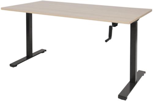 Bureau slinger verstelbaar (zit/sta) - 140x80 - Lindberg eiken - Zwart
