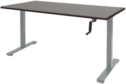 Bureau slinger verstelbaar (zit/sta) - 140x80 - Logan eiken - Aluminium