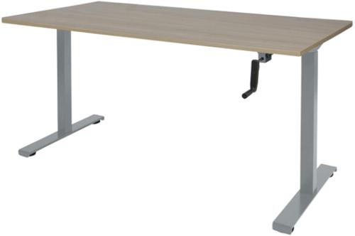 Bureau slinger verstelbaar (zit/sta) - 140x80 - Robson eiken - Aluminium