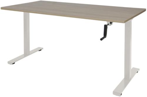 Bureau slinger verstelbaar (zit/sta) - 120x80 - Robson eiken - Wit